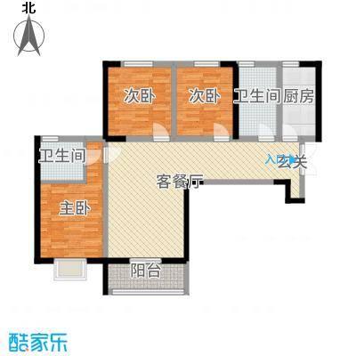 盛达国际新城二期116.80㎡D1户型3室3厅2卫1厨