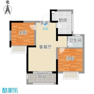 绿地天成苑77.53㎡一期3#E1户型2室2厅1卫1厨