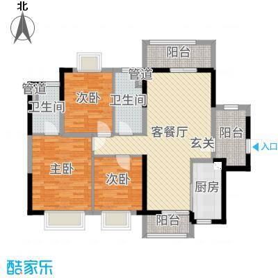 新世纪颐龙湾106.00㎡305#306#309#04户型3室3厅1卫1厨
