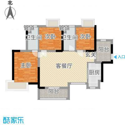 新世纪颐龙湾105.00㎡305#306#309#03户型3室3厅1卫1厨