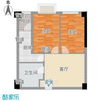枫丹国际公寓65.00㎡2号楼公寓户型2室2厅1卫1厨