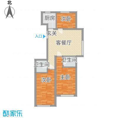 紫龙新城104.89㎡H户型3室3厅2卫1厨