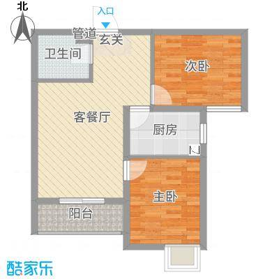 燕赵国际76.56㎡E户型2室2厅1卫1厨