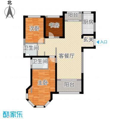 中南世纪锦城115.47㎡13号楼C1斑斓时光户型2室2厅2卫1厨