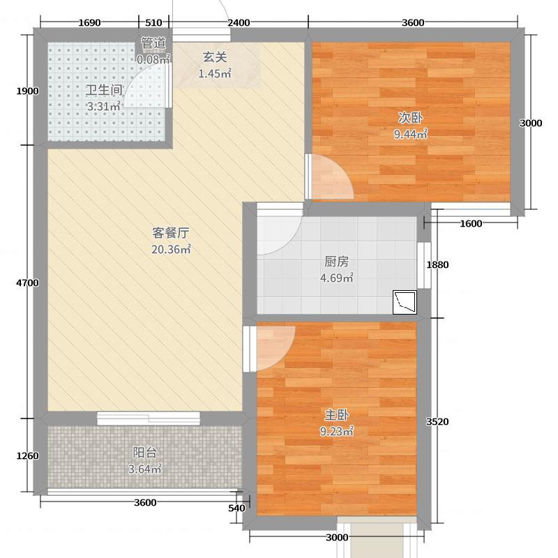 56㎡e户型2室2厅1卫1厨  河北 秦皇岛 燕赵国际 套内面积:50.