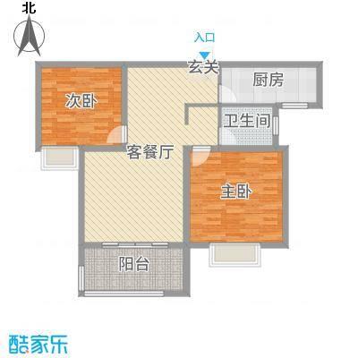 和昌运河尚郡96.00㎡A-2户型2室2厅1卫1厨