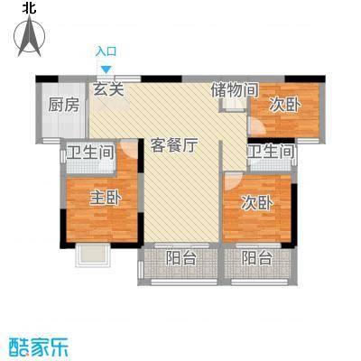 清华熙园105.28㎡2栋02户型3室3厅2卫1厨