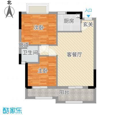 罗村风度花园68.00㎡21/22座05单元户型2室2厅1卫1厨