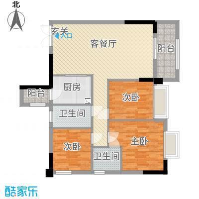 罗村风度花园101.42㎡5栋03单元户型3室3厅2卫1厨