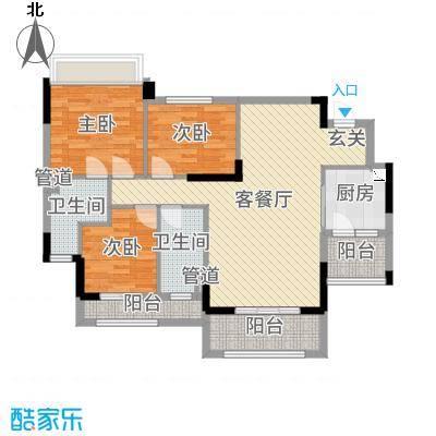 罗村风度花园102.14㎡20栋04单元户型3室3厅2卫1厨