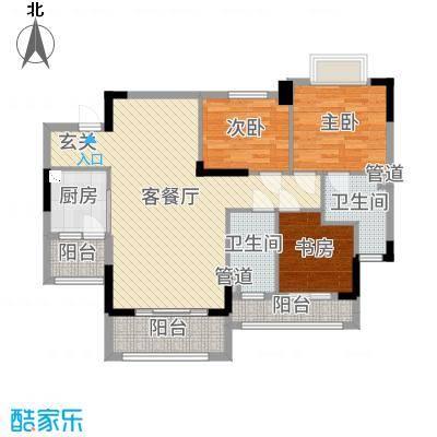 罗村风度花园103.35㎡20栋03单元户型3室3厅2卫1厨