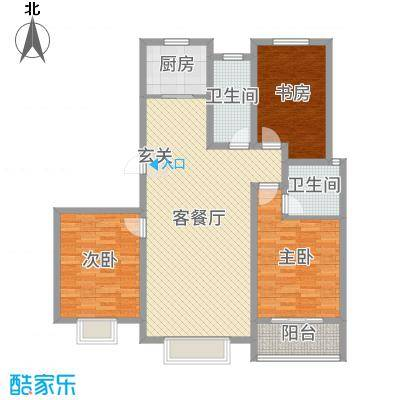 金桥天海湾139.81㎡21号楼标准层A2户型3室3厅2卫1厨
