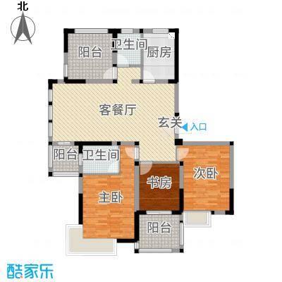 小天鹅品园135.00㎡H户型3室3厅2卫