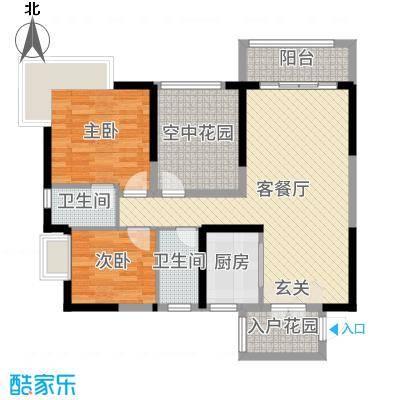 凯旋名门花园91.00㎡1栋01/02单元户型3室3厅2卫1厨