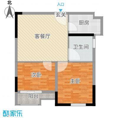 长江一号80.00㎡2号楼K2户型2室2厅1卫1厨