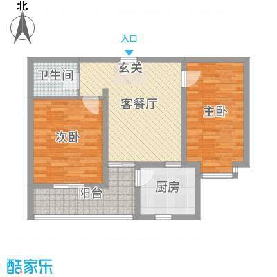 翰林雅筑86.41㎡11号楼顶层8441户型2室2厅1卫1厨