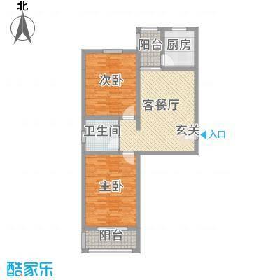翰林雅筑94.50㎡11号楼标准层户型2室2厅1卫1厨