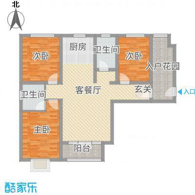 紫金蓝湾116.85㎡3号楼01B户型3室3厅2卫1厨