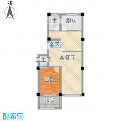 滨城绿洲75.00㎡四期多层23号楼户型1室1厅1卫1厨