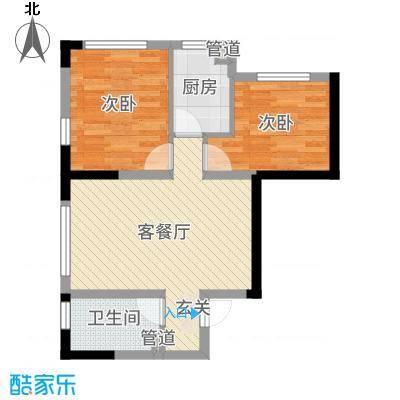 中海凤凰熙岸70.00㎡二期D户型2室2厅1卫1厨