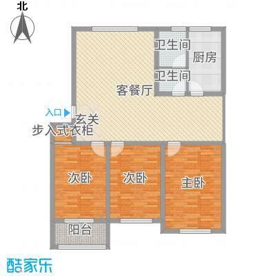 滨城绿洲133.19㎡五期多层D户型3室3厅1卫1厨