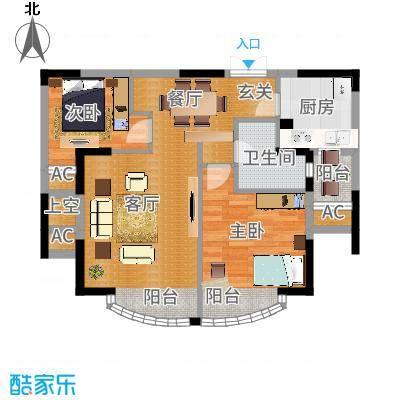 郦城国际户型2室1厅1卫1厨-副本