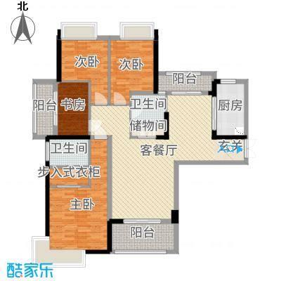 中央香榭142.41㎡4#楼高层户型4室4厅2卫1厨