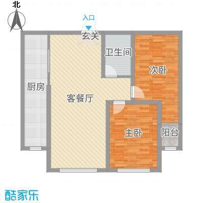 睿瀛豪庭90.43㎡一期E户型2室2厅1卫1厨