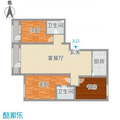 新华联雅园142.00㎡B户型3室3厅2卫1厨