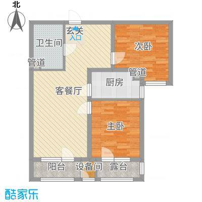 香邑溪谷86.00㎡高层E2户型2室2厅1卫1厨