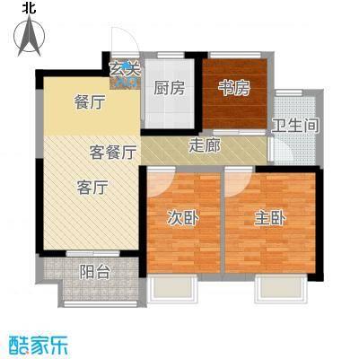 招商花园城87.00㎡B户型三房两厅一卫87平米户型3室2厅2卫-副本