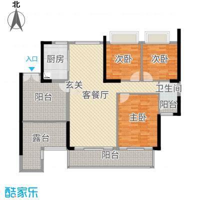 富力现代广场119.00㎡B4栋E户型3室3厅1卫1厨