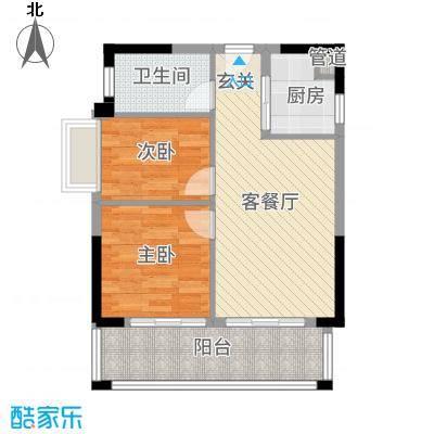 惠州富力湾69.00㎡A2栋10户型2室2厅1卫1厨