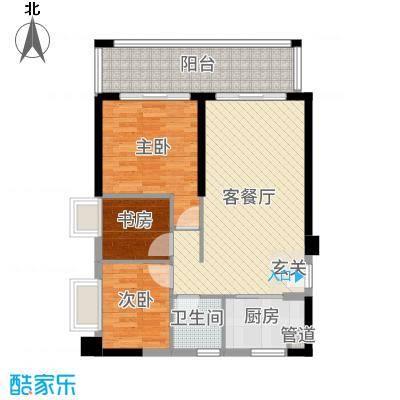 惠州富力湾83.00㎡A4栋03户型3室3厅1卫1厨