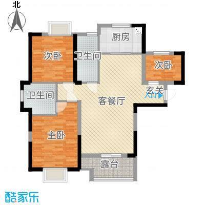 平安光谷春天104.66㎡1-10号楼B1户型3室3厅2卫1厨