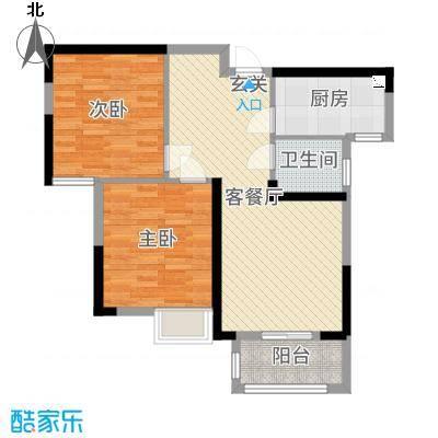 平安光谷春天78.48㎡1、2、9、10号楼D1户型2室2厅1卫1厨