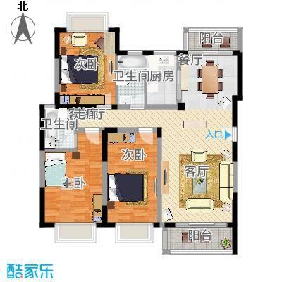 海关宿舍91.00㎡海关宿舍3室户型3室-副本