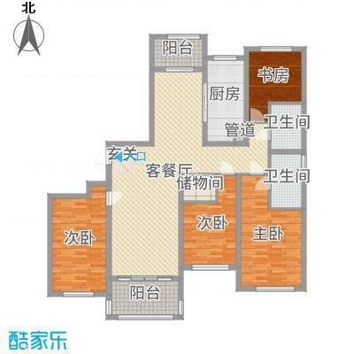 龙馨家园158.00㎡9#M2户型4室4厅2卫