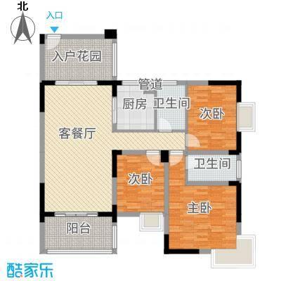 铜锣湾136.00㎡2#楼B1户型3室3厅2卫