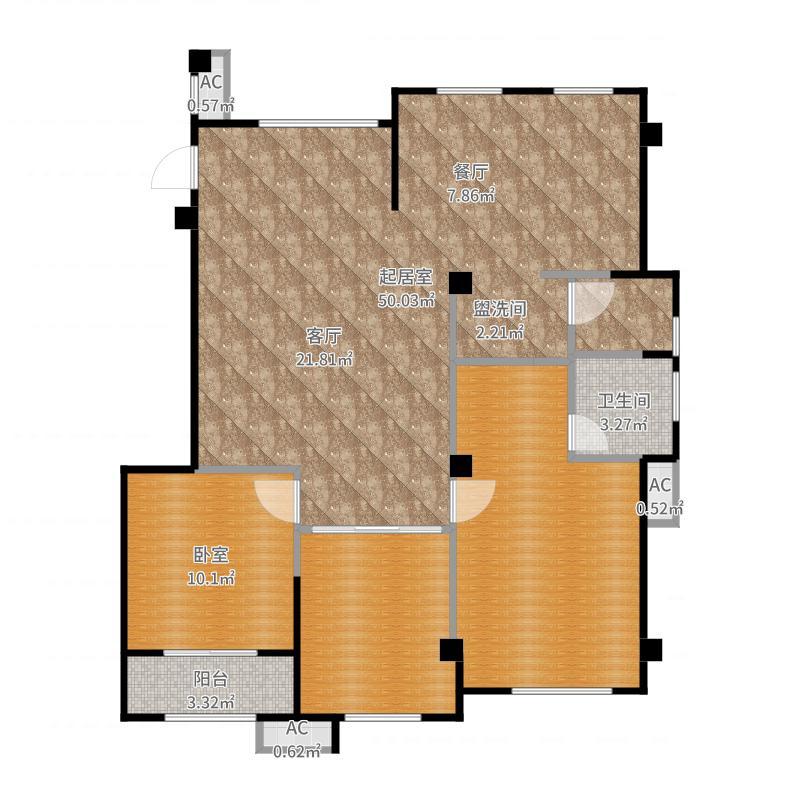 00㎡四房两厅两卫两阳台约103平b1户型4室2厅2卫-副本