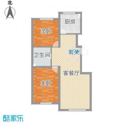 北海丽景103.79㎡H户型2室2厅1卫1厨