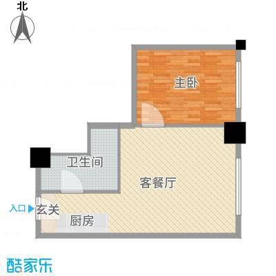 时代国际76.11㎡乐居风尚公寓Bf户型1室1厅1卫