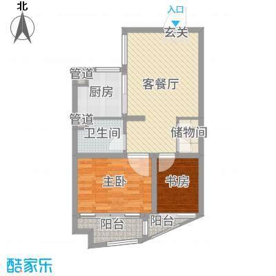 金色广场66.00㎡小高层A1-A3楼标准层A户型2室2厅1卫1厨