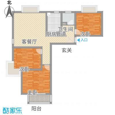 顺达嘉园118.88㎡户型3室2厅1卫1厨-副本-副本