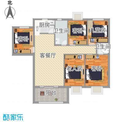 未来海岸蓝月湾126.65㎡E户型3室2厅2卫1厨-副本-副本