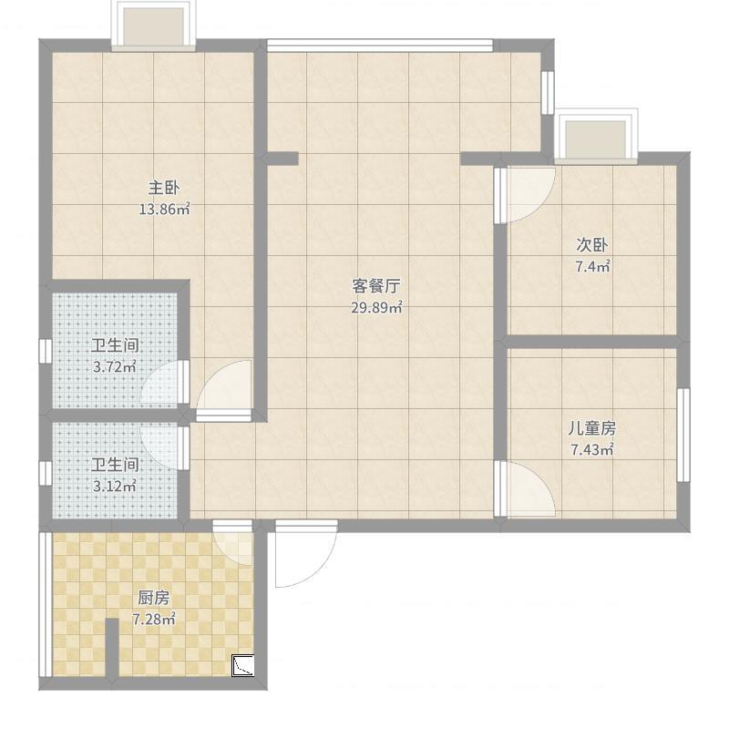 户型设计 简约-副本  四川 遂宁 浅水半岛 套内面积:72.