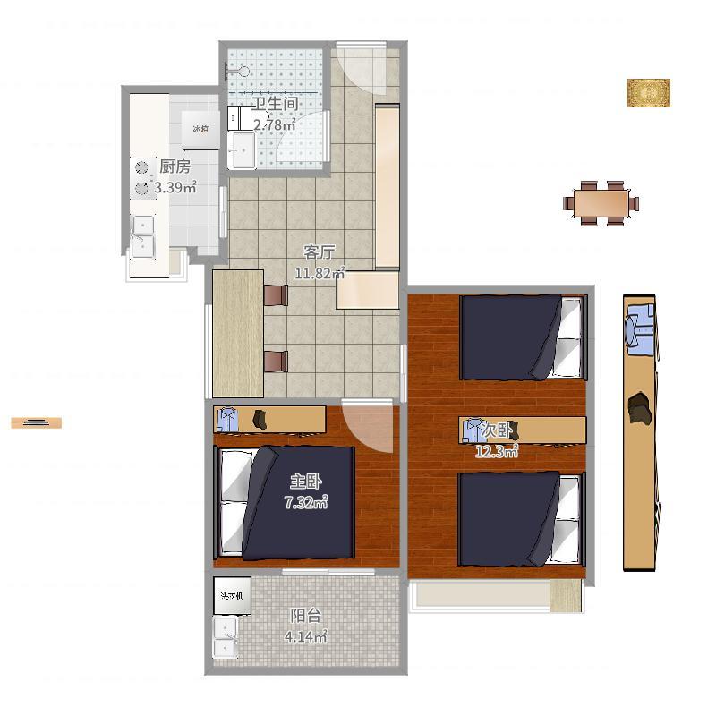 户型设计 联建二区2#10户型  福建 福州 联建新苑 套内面积:41.
