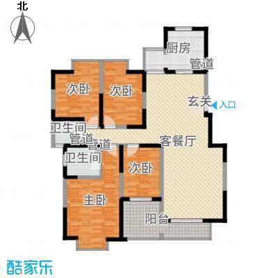 西安印象153.00㎡4#、8#平层户型4室4厅3卫1厨