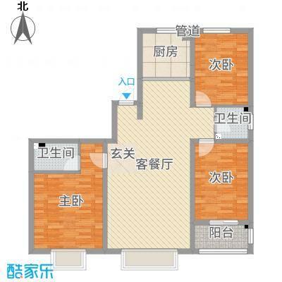 华跃城(西区)132.36㎡华跃城G户型3室1厅2卫1厨