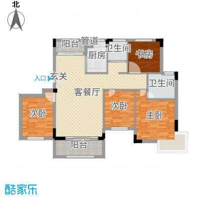 嘉业海棠湾112.00㎡二期洋房C1户型5室5厅2卫
